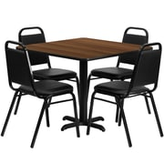 Flash Furniture 36'' Square Walnut Laminate Table Set with X-Base and 4 Black Trapezoidal Back Banquet Chairs