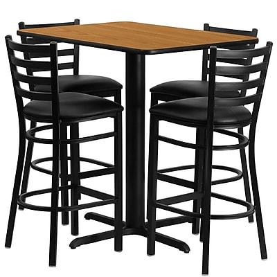 Flash Furniture 24''W x 42''L Rectangle Natural Laminate X-Base Table Set with 4 Ladder Back Metal Bar Stools, Black Vinyl Seat