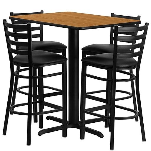 Flash Furniture 24''Wx42''L X-Base Rectangular Table Set W/4 Ladder Back Bar Stools (HDBF1019)
