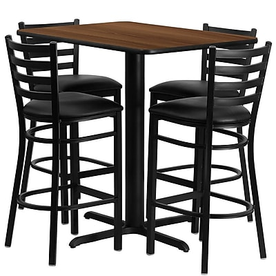 Flash Furniture 42.25'' Modern Legged Base Vinyl Bar Stool, Black (HDBF1020)