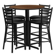 Flash Furniture 30'' Round Walnut Laminate Table Set with X-Base and 4 Ladder Back Metal Bar Stools, Black Vinyl Seat