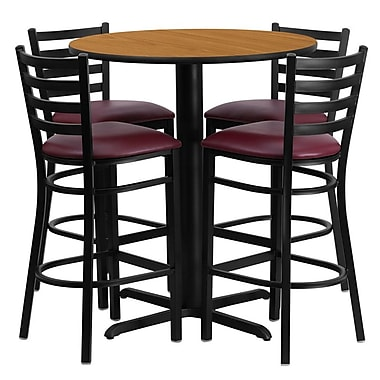 Flash Furniture 30'' X-Base Round Table Set W/4 Ladder Back Metal Bar Stools