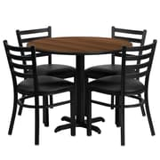 Flash Furniture 36'' Round Walnut Laminate Table Set W/4 Ladder Back X-Base Black Vinyl Seat Chairs