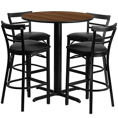 Flash Furniture 24'' Round Walnut Laminate Table Set with X-Base and 4 Ladder Back Metal Bar Stools, Black Vinyl Seat