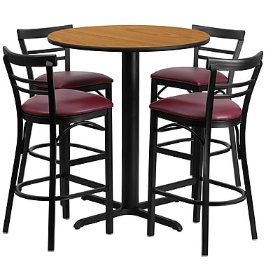Flash Furniture 24'' Round Natural Laminate Table Set with X-Base and 4 Ladder Back Metal Bar Stools, Burgundy Vinyl Seat