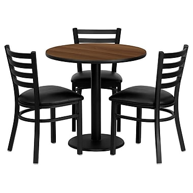 Flash Furniture 30'' Round Walnut Laminate Table Set with Round Base and 3 Ladder Back Metal Chairs, Black Vinyl Seat