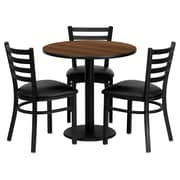 Flash Furniture 30'' Round Walnut Laminate Table Set W/3 Ladder Back Black Vinyl Seat Chairs
