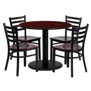 Flash Furniture 36'' Round Mahogany Laminate Table Set W/4 Ladder Back Mahogany Wood Seat Chairs