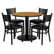 Flash Furniture 36'' Round Natural Laminate Table Set with Round Base and 4 Grid Back Metal Chairs, Black Vinyl Seat