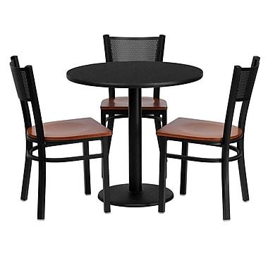 Flash Furniture – Table ronde 30 po, stratifié noir, base ronde et 3 chaises en métal, dossier à grille, siège en bois cerisier