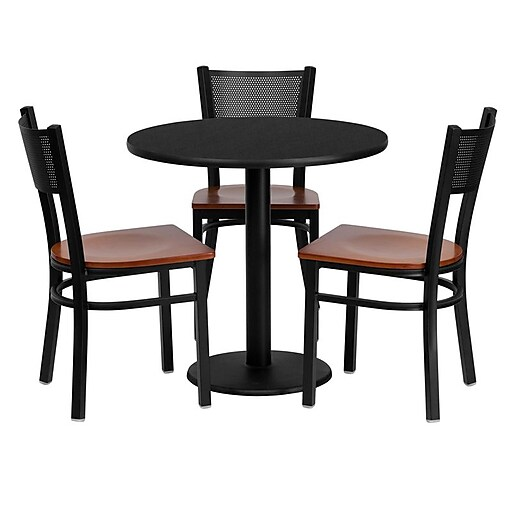 Flash Furniture 30'' Round Black Laminate Table Set W/3 Grid Back Cherry Wood Seat Chairs (MD0007)