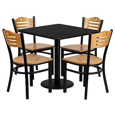 Flash Furniture – Table carrée de 30 po, stratifié noir, base ronde et 4 chaises en bois, dossier à lattes/siège en bois naturel