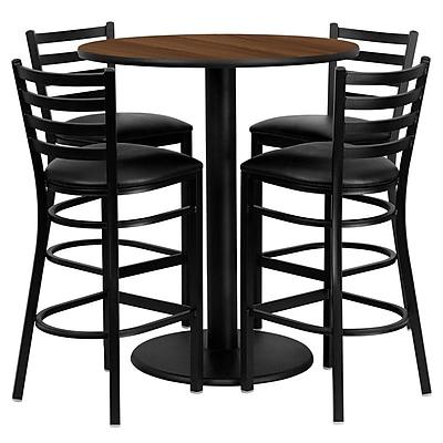 Flash Furniture 36'' Round Walnut Laminate Table Set with Round Base and 4 Ladder Back Metal Bar Stools, Black Vinyl Seat