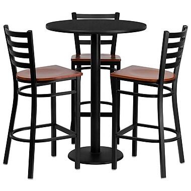 Flash Furniture – Table ronde 30 po, stratifié noir, base ronde et 3 tabourets en métal, dossier échelle, siège en bois cerisier