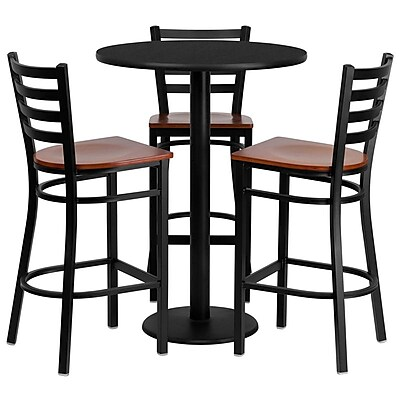 Flash Furniture 30'' Round Black Laminate Table Set with Round Base and 3 Ladder Back Metal Bar Stools, Cherry Wood Seat