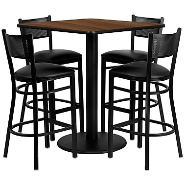 Flash Furniture 36'' Square Walnut Laminate Table Set with Round Base and 4 Grid Back Metal Bar Stools, Black Vinyl Seat