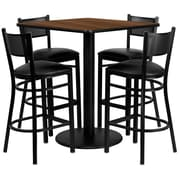 Flash Furniture 36'' Square Table Set W/4 Grid Back Metal Bar Stools, Walnut/Black