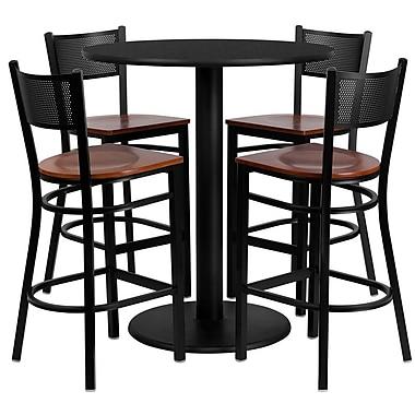 Flash Furniture – Table ronde 36 po, stratifié noir, base ronde et 4 tabourets en métal, dossier grille, siège en bois cerisier