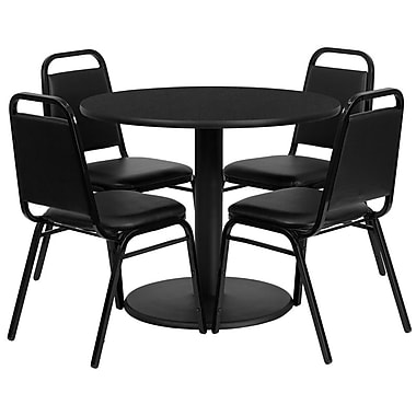 Flash Furniture, 36'' Round Black Laminate Table Set with Round Base and 4 Black Trapezoidal Back Banquet Chairs