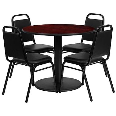 Flash Furniture – Table ronde de 36 po au dessus stratifié acajou avec base ronde et 4 chaises noires à dossier trapézoïdal