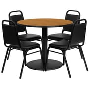 Flash Furniture 36'' Round Natural Laminate Table Set with Round Base and 4 Black Trapezoidal Back Banquet Chairs