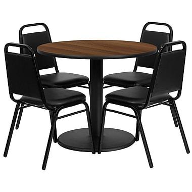 Flash Furniture – Table ronde de 36 po au dessus stratifié noyer avec base ronde et 4 chaises noires à dossier trapézoïdal