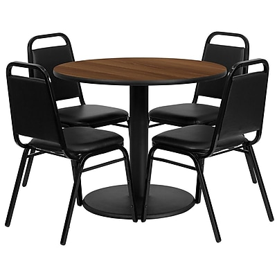 Flash Furniture 36'' Round Walnut Laminate Table Set with Round Base and 4 Black Trapezoidal Back Banquet Chairs (RSRB1004)