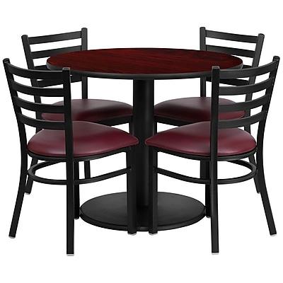 Flash Furniture 36'' Round Mahogany Laminate Table Set W/4 Ladder Back Vinyl Seat Chairs