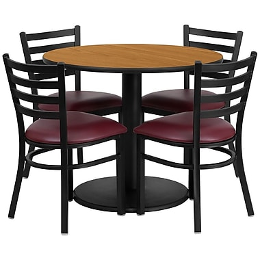 Flash Furniture 36'' Round Natural Laminate Table Set with Round Base and 4 Ladder Back Metal Chairs, Burgundy Vinyl Seat