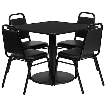 Flash Furniture 36'' Square Black Laminate Table Set with Round Base and 4 Black Trapezoidal Back Banquet Chairs