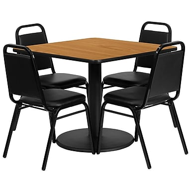 Flash Furniture, 36'' Square Natural Laminate Table Set with Round Base and 4 Black Trapezoidal Back Banquet Chairs