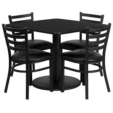 Flash Furniture, 36'' Square Black Laminate Table Set with Round Base and 4 Ladder Back Metal Chairs, Black Vinyl Seat