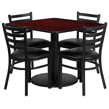 Flash Furniture – Table ronde de 36 po, stratifié acajou, base ronde et 4 chaises en métal, dossier échelle/siège vinyle noir