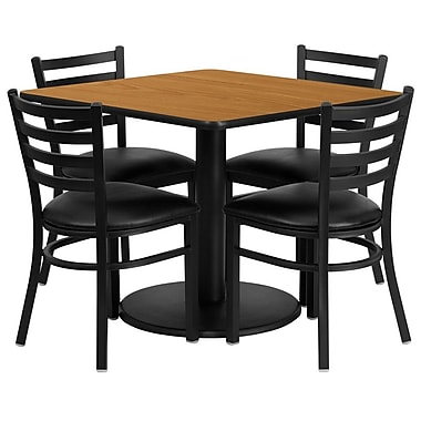 Flash Furniture 36'' Square Natural Laminate Table Set with Round Base and 4 Ladder Back Metal Chairs, Black Vinyl Seat