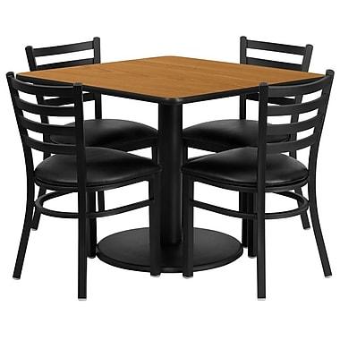 Flash Furniture – Table carrée 36 po, stratifié naturel, base ronde et 4 chaises en métal, dossier échelle, siège en vinyle noir