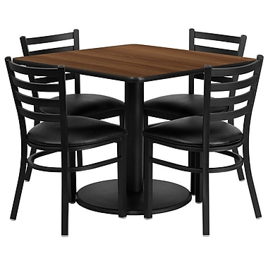Flash Furniture 36'' Square Walnut Laminate Table Set with Round Base and 4 Ladder Back Metal Chairs, Black Vinyl Seat