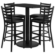 Flash Furniture 24'' x 42'' Rectangular Table Set W/4 Ladder Back Metal Bar Stools