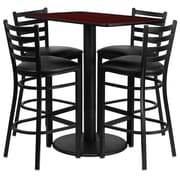 Flash Furniture 24''W x 42''L Mahogany Laminate Round Base Table Set with 4 Ladder Back Metal Bar Stools, Black Vinyl Seat