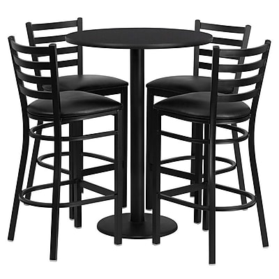 Flash Furniture 30'' Round Black Laminate Table Set with Round Base and 4 Ladder Back Metal Bar Stools, Black Vinyl Seat