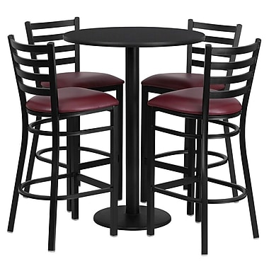 Flash Furniture 30'' Round Black Laminate Table Set with Round Base and 4 Ladder Back Metal Bar Stools, Burgundy Vinyl Seat