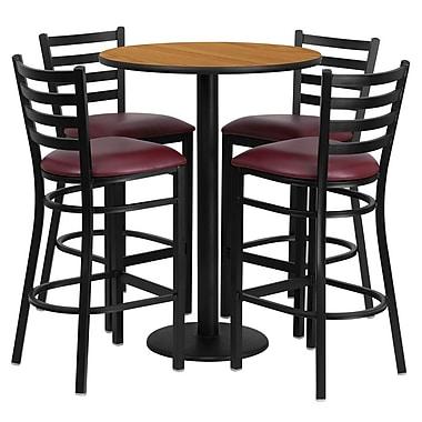 Flash Furniture – Table ronde de 30 po, dessus stratifié naturel, base ronde et 4 tabourets en métal, siège en vinyle bourgogne