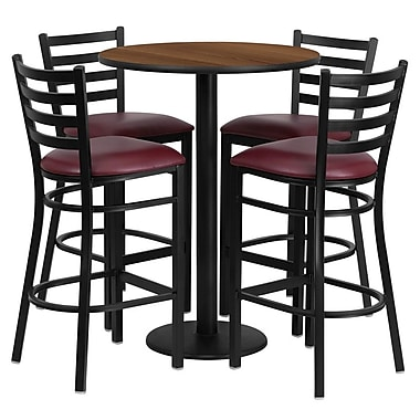 Flash Furniture 30'' Round Walnut Laminate Table Set with Round Base and 4 Ladder Back Metal Bar Stools, Burgundy Vinyl Seat
