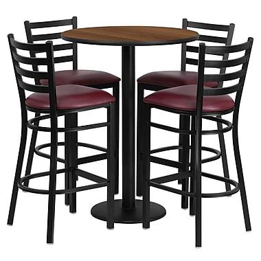 Flash Furniture – Table ronde de 30 po, dessus stratifié noyer, base ronde et 4 tabourets en métal, siège en vinyle bourgogne