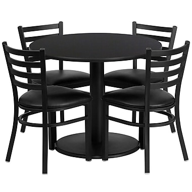 Flash Furniture 36'' Round Black Laminate Table Set with Round Base and 4 Ladder Back Metal Chairs, Black Vinyl Seat