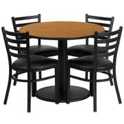Flash Furniture – Table ronde 36 po, stratifié naturel, base ronde et 4 chaises en métal, dossier échelle, siège en vinyle noir