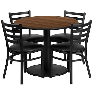 Flash Furniture 36'' Round Walnut Laminate Table Set with Round Base and 4 Ladder Back Metal Chairs, Black Vinyl Seat