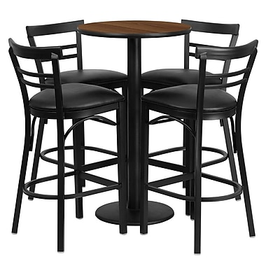 Flash Furniture 24'' Round Walnut Laminate Table Set with Round Base and 4 Ladder Back Metal Bar Stools, Black Vinyl Seat