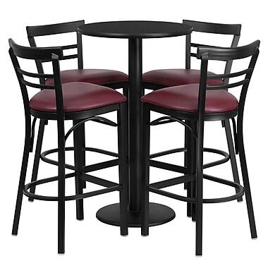 Flash Furniture 24'' Round Black Laminate Table Set with Round Base and 4 Ladder Back Metal Bar Stools, Burgundy Vinyl Seat