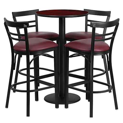 Flash Furniture 24'' Round Table Set W/4 Ladder Back Bar Stools (RSRB1038)