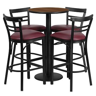 Flash Furniture – Table ronde de 24 po, dessus stratifié noyer, base ronde et 4 tabourets en métal, siège en vinyle bourgogne